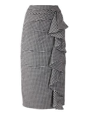 Ruffle front gingham skirt