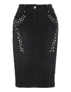 Metal-studded denim skirt