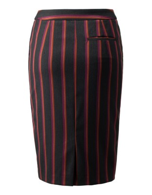 Crease-resistant, easy-care striped skirt