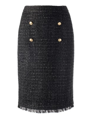 Couture-style skirt in fringed novelty tweed with insignia buttons