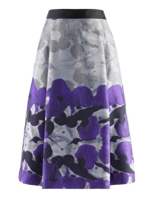 Floral jacquard skirt with pleated front