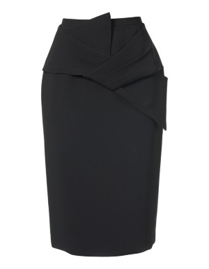 Crepe pencil skirt with bow