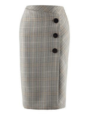 Prince of Wales check wrap-around skirt