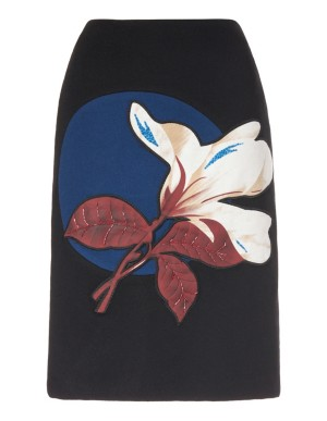 Floral appliqué pencil skirt