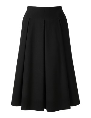 Sweeping skirt with hip-pleat front