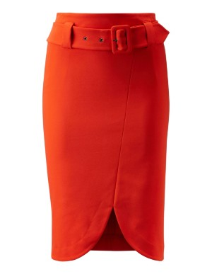 Front split high-waisted skirt