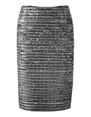 Sequin-adorned bouclé pencil skirt