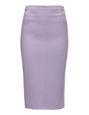 Wool crepe midi pencil skirt