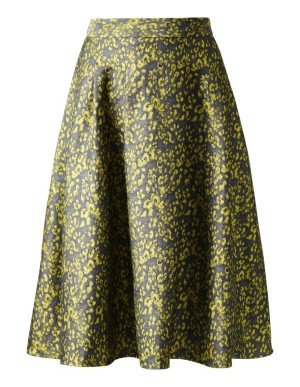 Flared jacquard skirt with mesh lining
