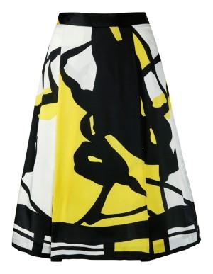 Art print skirt with pleats