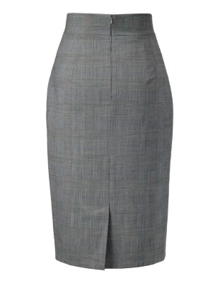 High-waisted glencheck skirt