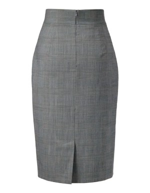 High-waisted Prince of Wales check skirt