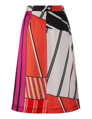 Print skirt with front pleats