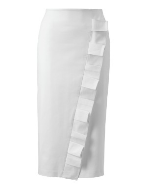 Pencil skirt with asymmetric flounce