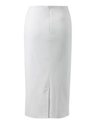Pencil skirt with asymmetric flounce