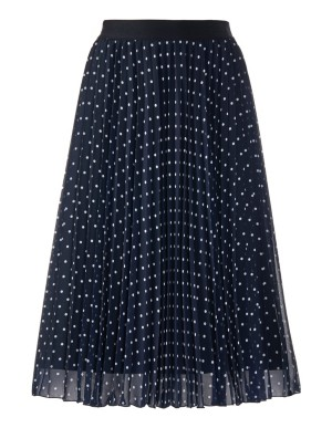 Flared plisse polka dot skirt