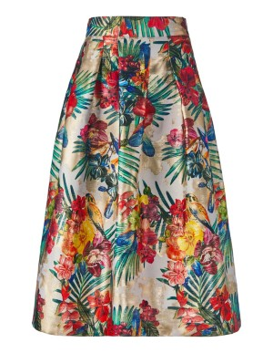 Flared box pleat skirt