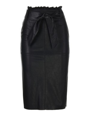 Faux nappa leather skirt