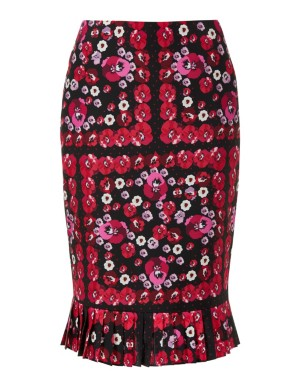Floral skirt with front slit