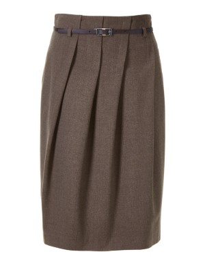 Skirt with slanted pleats