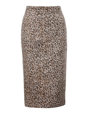 Printed denim pencil skirt