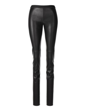 Faux leather slim-line trousers