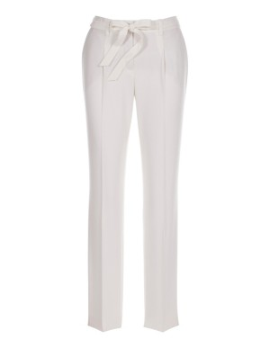 Waistband-pleated trousers