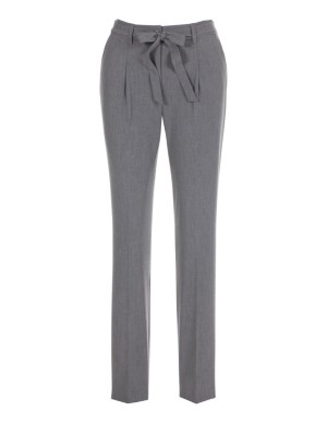 Cropped, slim-fit trousers with detachable tie belt