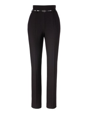 High-waisted slim-line trousers
