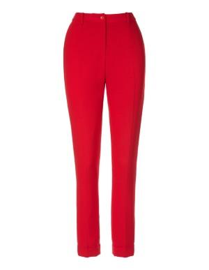 Fluid crepe drainpipe trousers