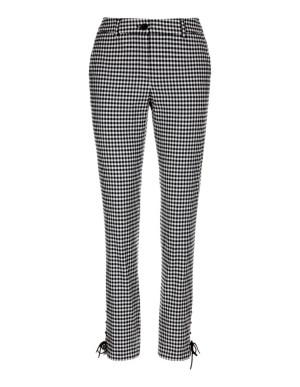 Slim-cut check trousers