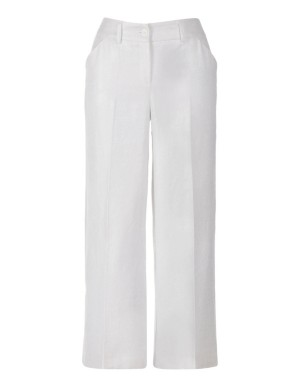 Coated trousers, pure linen