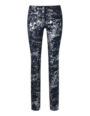 Gleaming coated patterned trousers