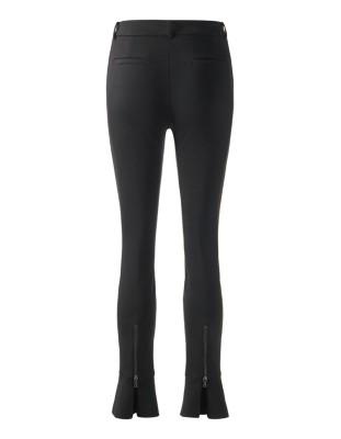 Trousers with high waistband and hem flounces