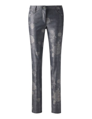 Floral Prince of Wales check trousers