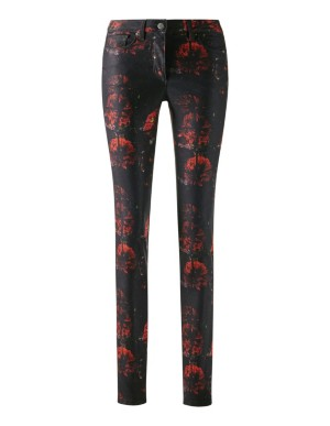 Floral stretch satin trousers