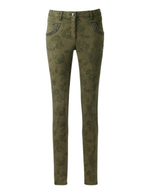 Stretch satin trousers with print and sparkling stone trim