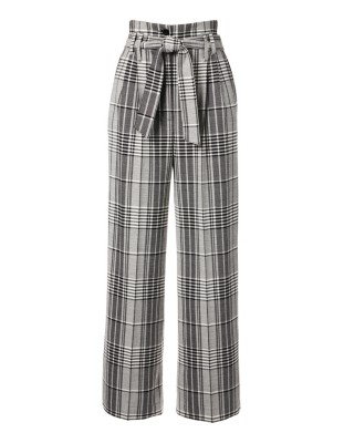 Pleated wide-leg check trousers