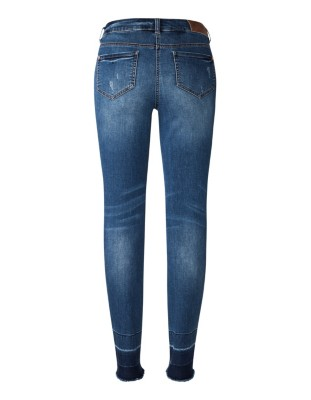 Streamlined frayed-hem jeans