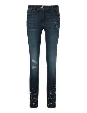 Stretch jeans with ornamental stones and sequins