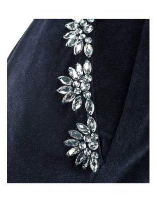 Velvet trousers with ornamental stones