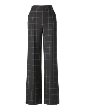High check trousers with wide waistband