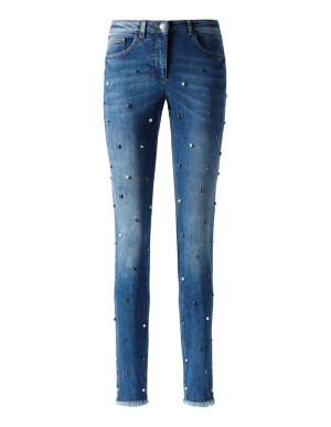 Embellished frayed hem jeans