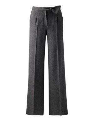 Wide-legged herringbone trousers
