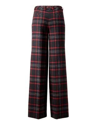 Wide waistband pleated check trousers