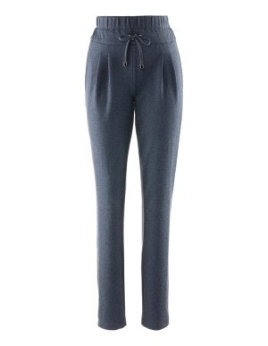 Jersey waistband-pleated trousers