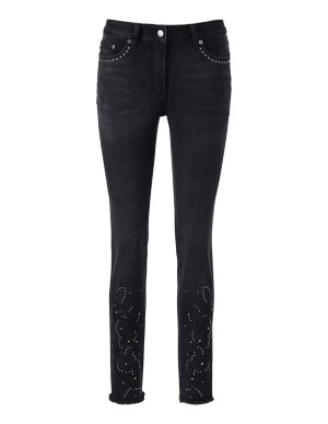 Embroidered 5-pocket jeans with a frayed hem