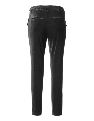 Velvet trousers with sparkling pocket trim