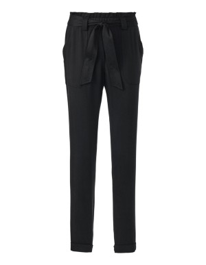 Pleated trousers with tie belt