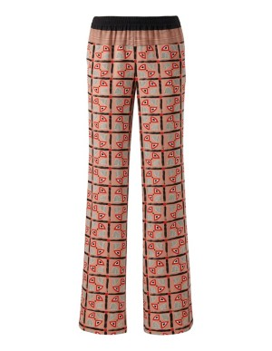 Stretch wide-leg trousers with print